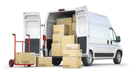Delivery,Van,With,Open,Doors,And,Hand,Truck,With,Cardboard